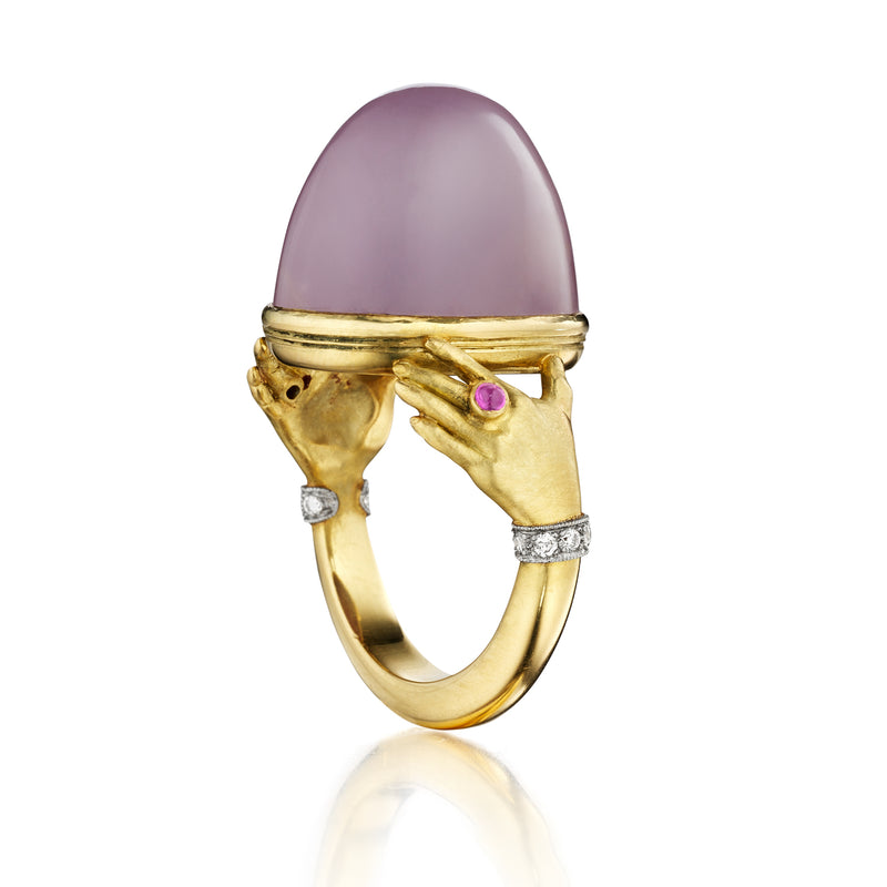Lavender Chalcedony Adorned Hands Ring