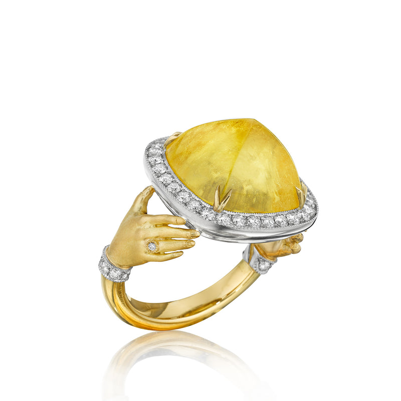 Pavé Yellow Beryl Adorned Hands Ring