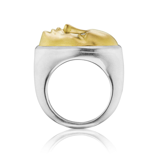 Gold and Silver Vulcana Ring with Diamond Eyes