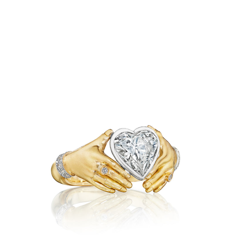 Adorned Hands Diamond Heart Engagement Ring