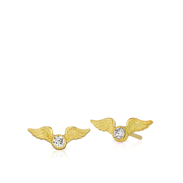 Tiny Flying Diamond Stud Earrings