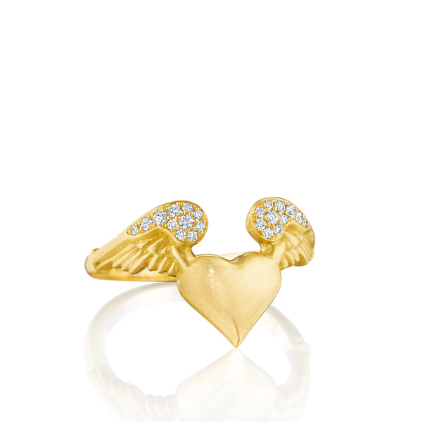 Pavé Flying Heart Ring