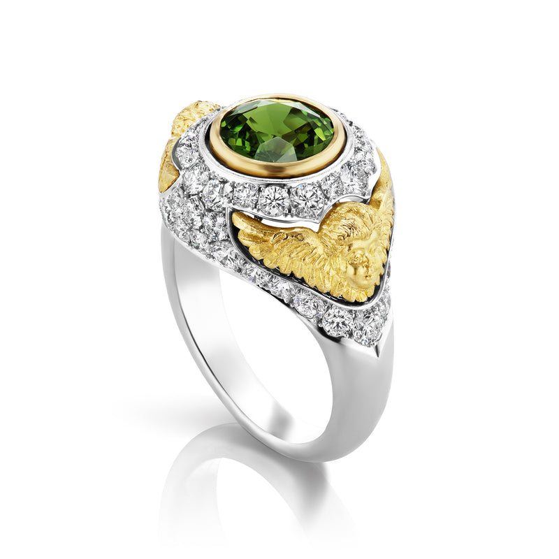 Green Sapphire Pave Putti Ring