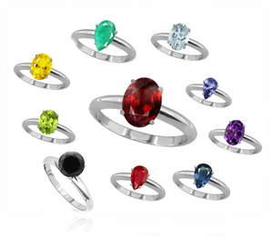 Beautiful Birthstone Sterling Silver Rings