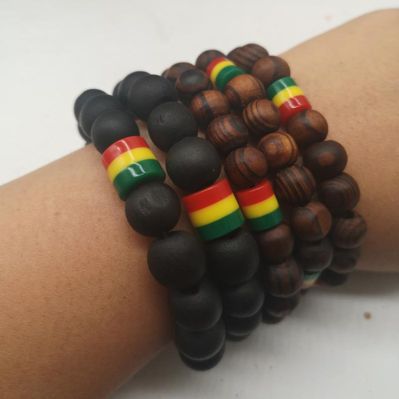 5pcs/lot Rasta Wooden Bead Bracelets - Exquisite Supplies LLC