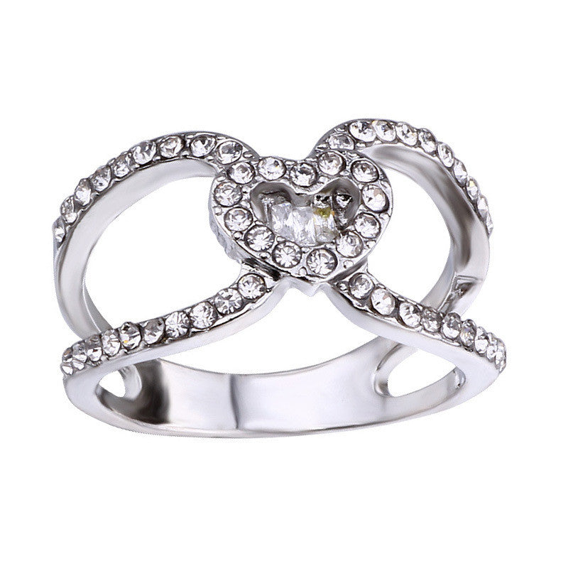 Trendy Heart Cubic Zirconia Ring For Women
