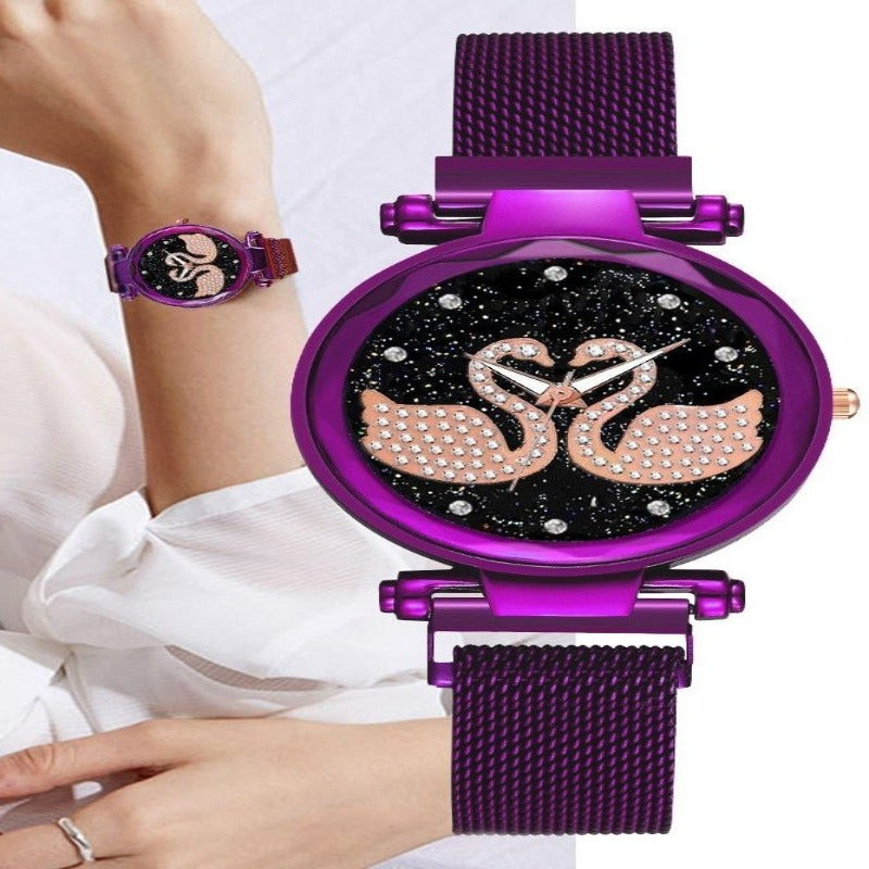 Ladies Swan Diamond Magnetic Watch