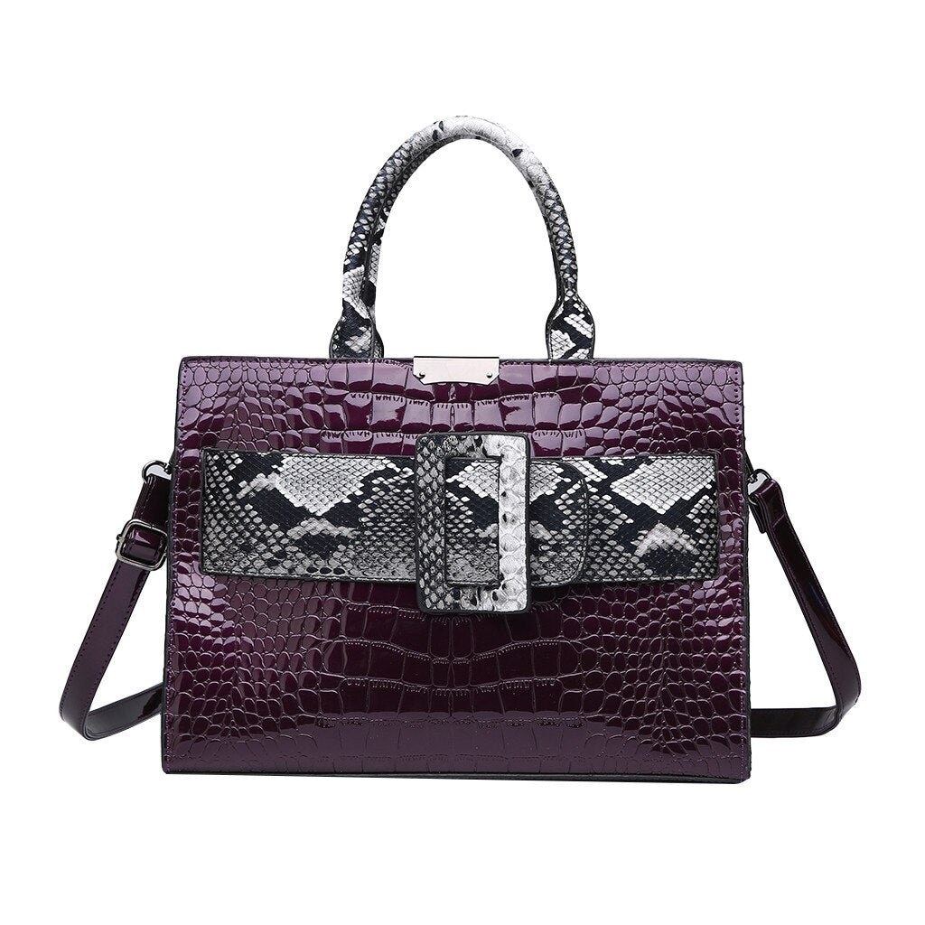 Women Snake Skin Shoulder Handbag