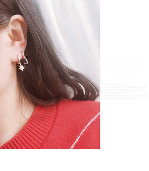New Arrival Classic Women Dangle Earrings Of Star And Moon