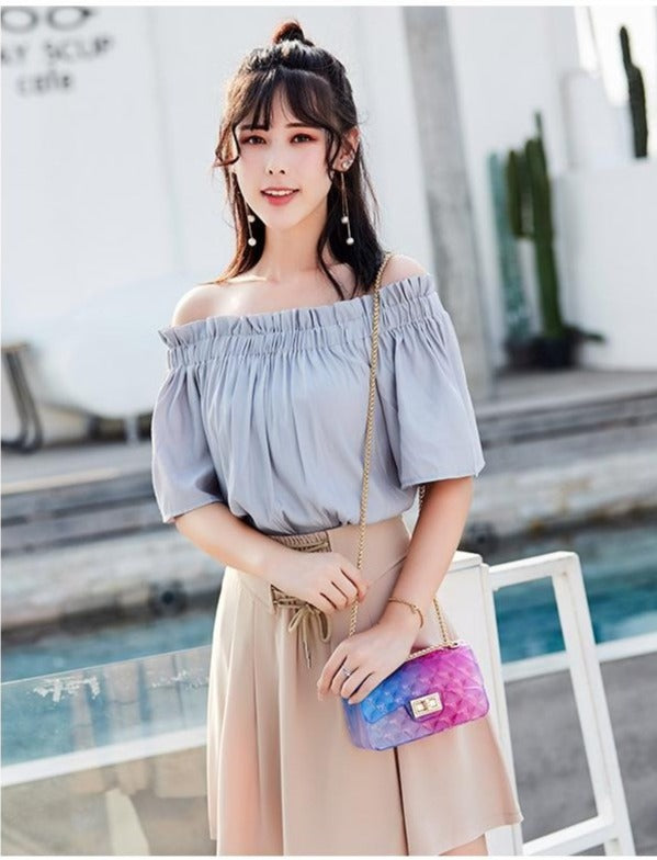 Transparent Candy Color Chain Handbag