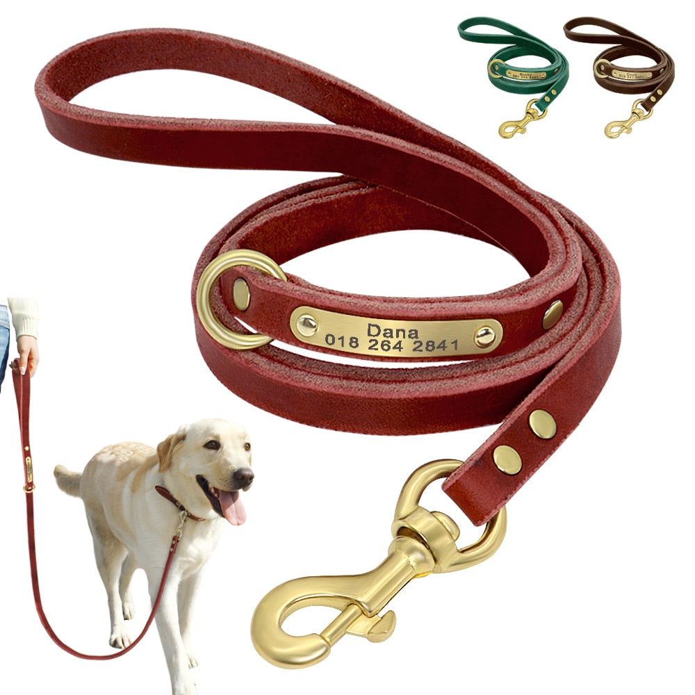 Personalized Custom Engraved ID Tag Leather Dog Leash