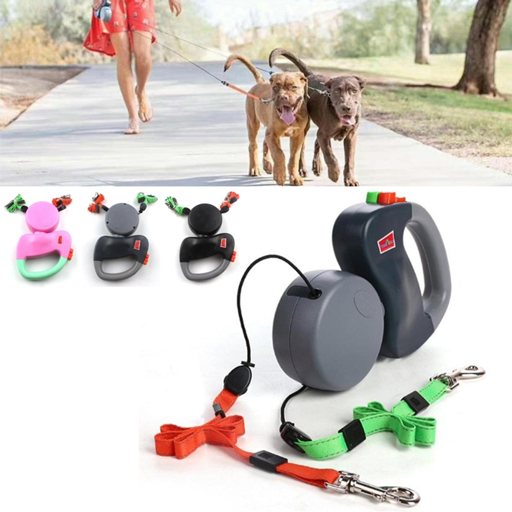 Dual Headed Retractable Dog Leach for Two