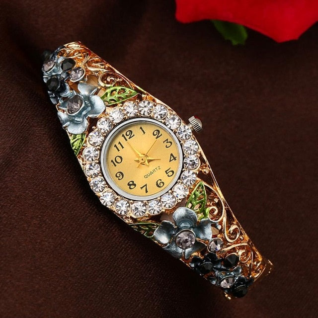 Beautiful Flower Crystal Bracelet Watch