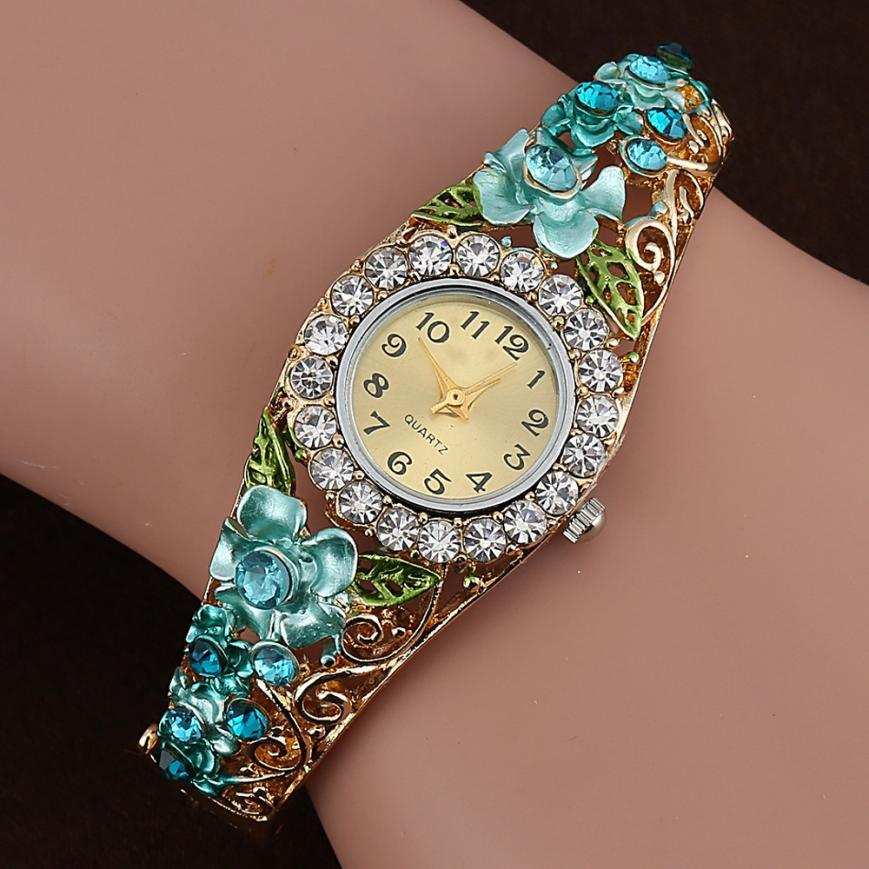 Beautiful Flower Crystal Bracelet Watch - Exquisite Supplies LLC