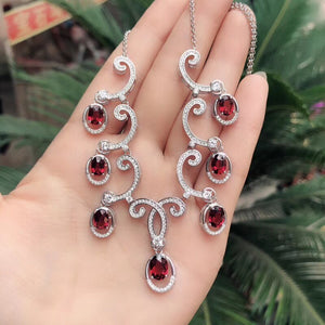 Red Garnet Pendant Necklace