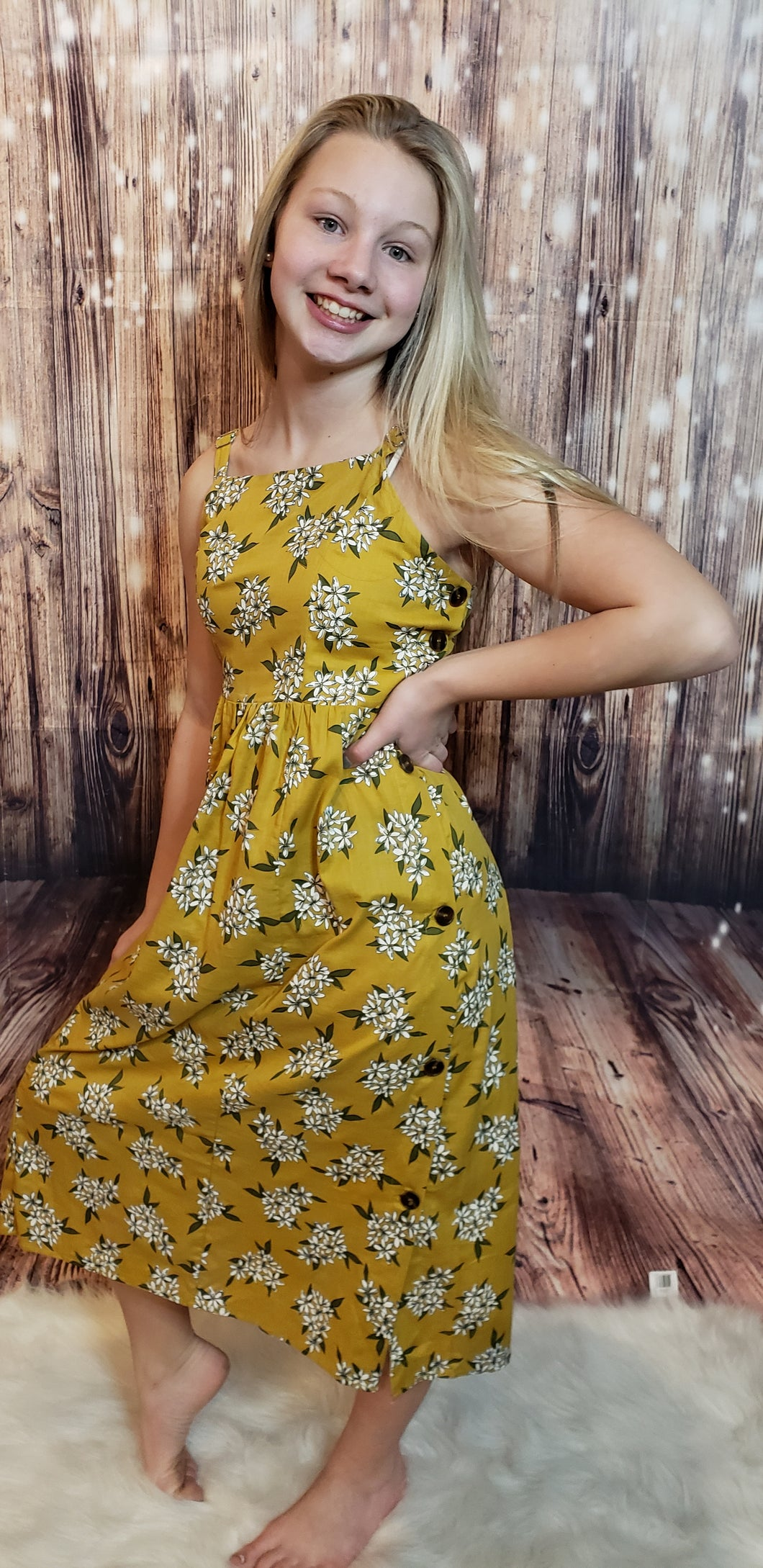 Addy Floral & Button Dress
