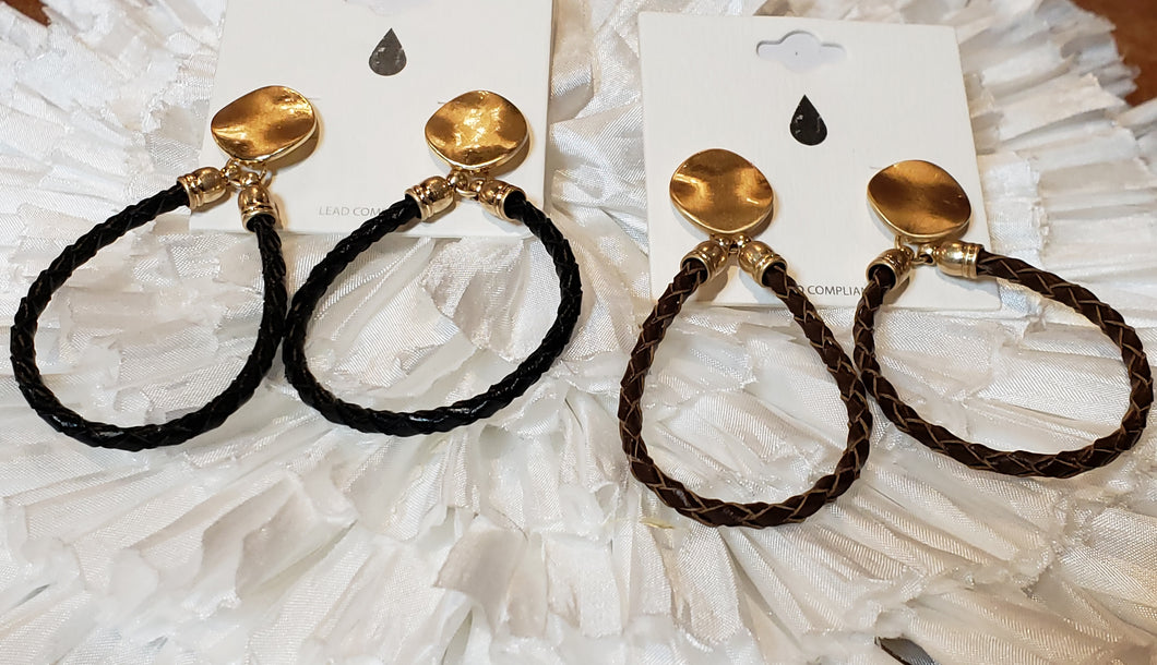 Bailey Braided Leather Earring