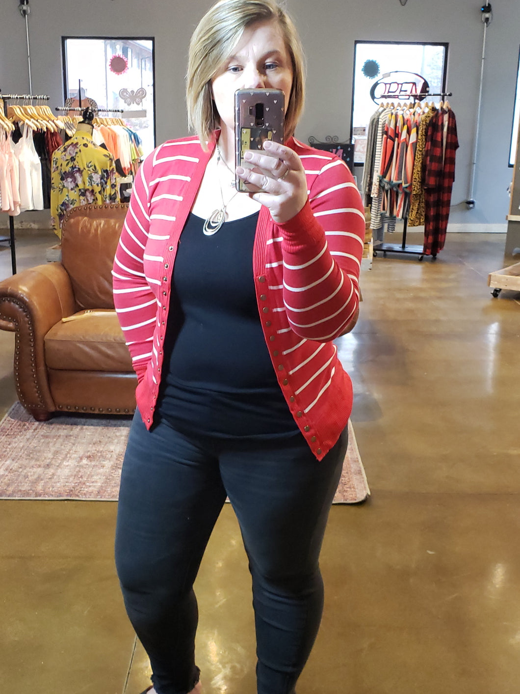 Sandra Stripe Snap Cardigan