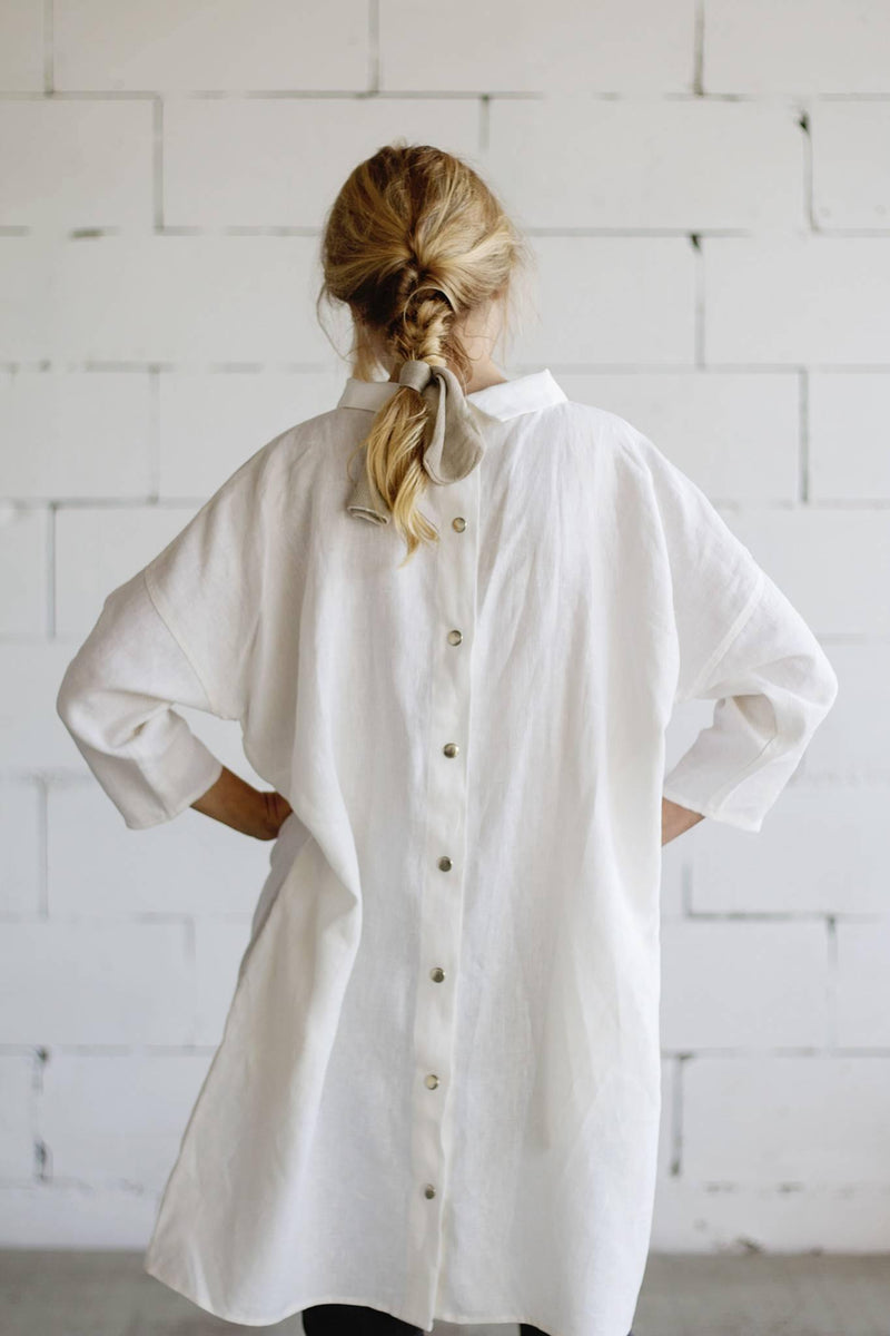 Designed for You | 100% Linen Classic Dress White
