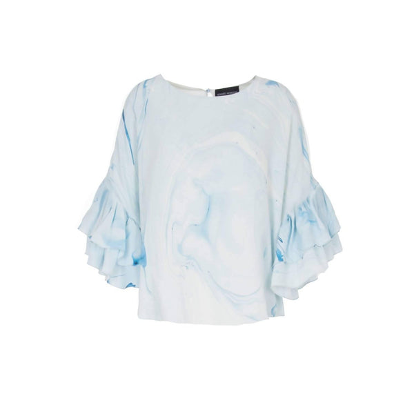 Hand Marbled Silk Ruffled Flounce Top - Blue & White