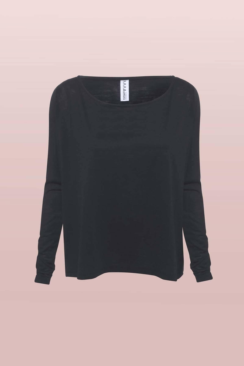 A-line Long Sleeve T-shirt in Black