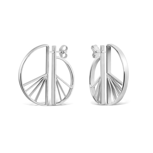 Wedge Split Earrings, Silver