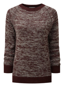 Women's Crew Neck Sweater - Burgundy / Grey Marl