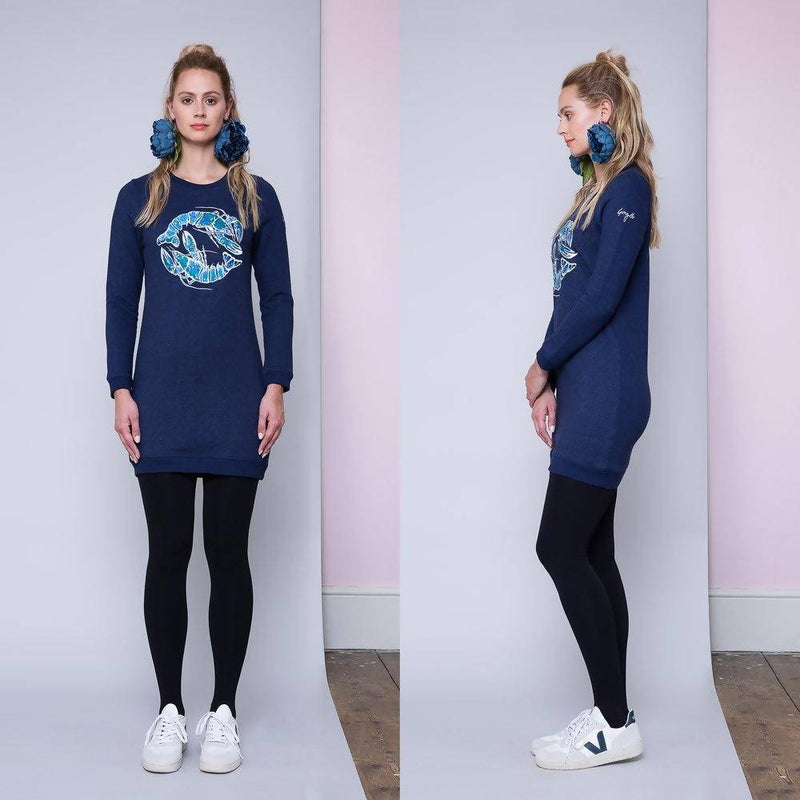 The Blue Lobster | Embroidered Sweatshirt Dress