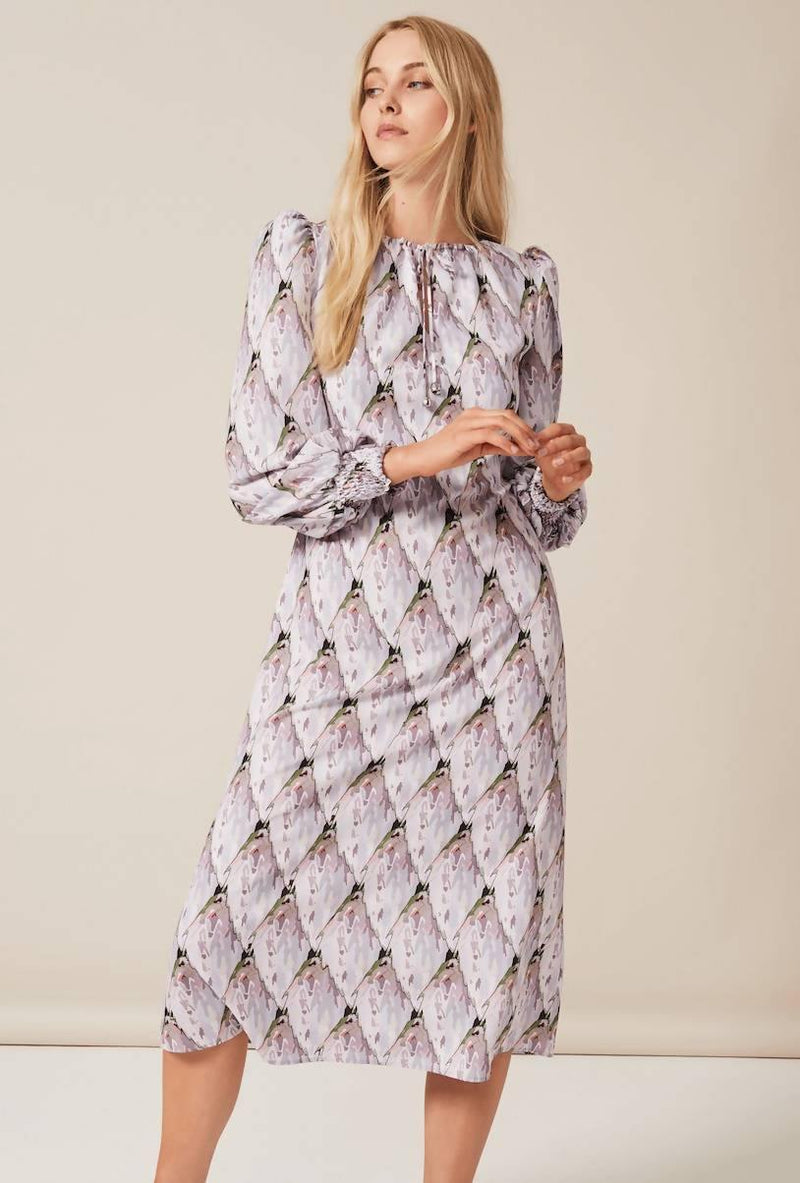 JOJO Midi Dress with puff sleeve in Tiled Protea Bud - Sellers With A Story