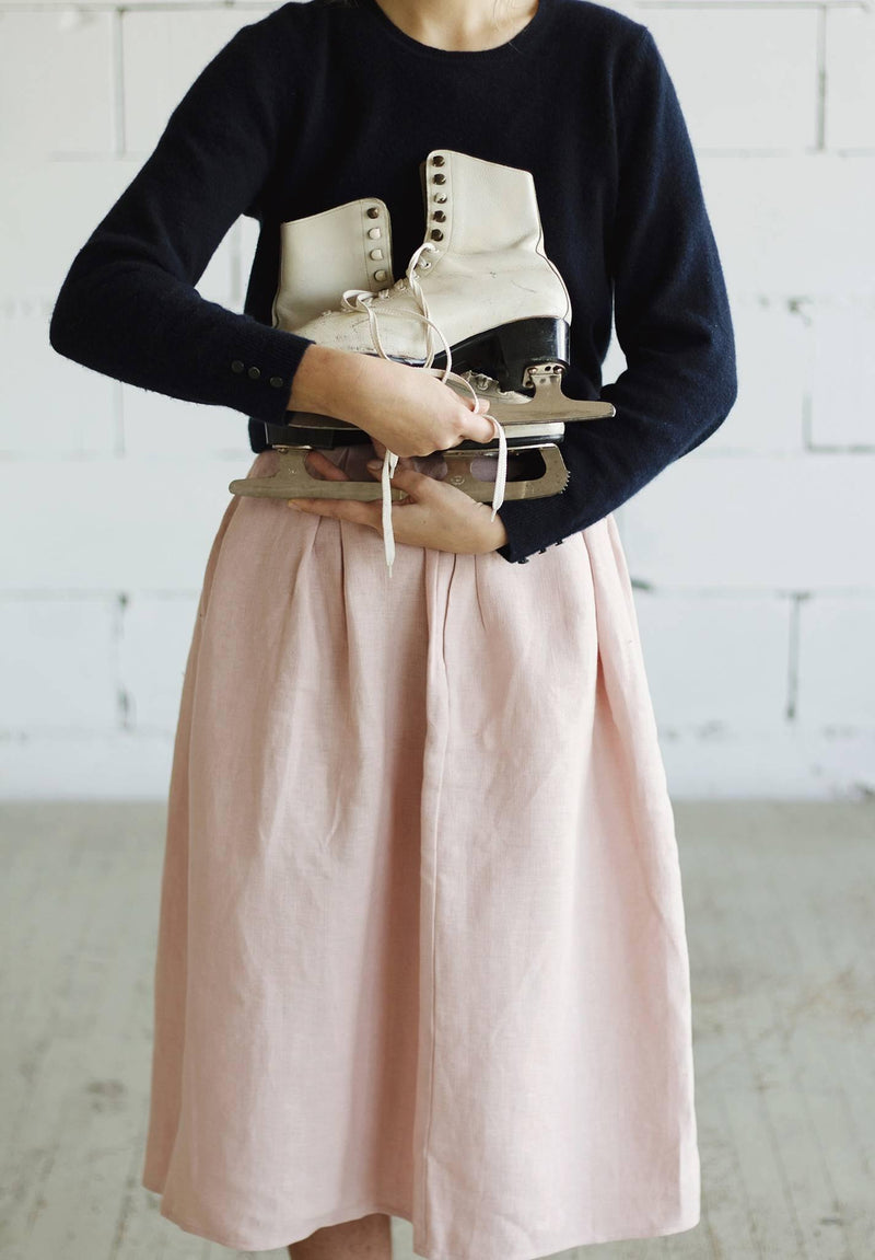 100% Linen Skirt Pink - Sellers With A Story