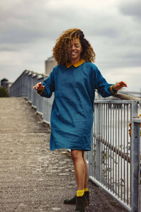 100% Linen Dress Teal with Mustard Detailing