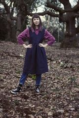 100% Linen Pinafore Dress Navy