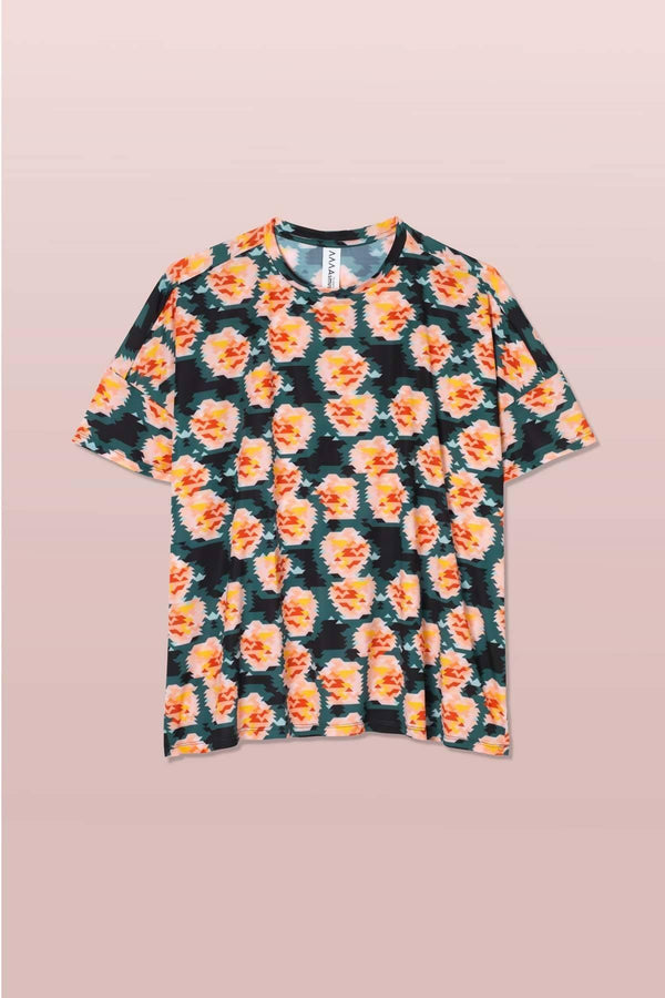 Geo. Rose Print Boxy T-shirt - Sellers With A Story