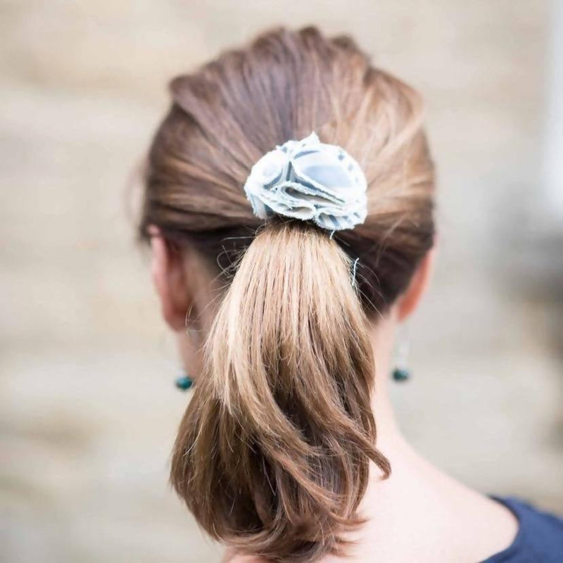Children's flower hair bobble Chambray - Sellers With A Story