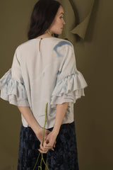 Hand Marbled Silk Ruffled Flounce Top - Blue & White - Sellers With A Story