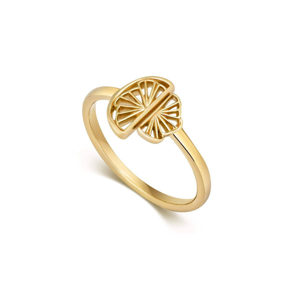 Wedge Fan Ring, Gold