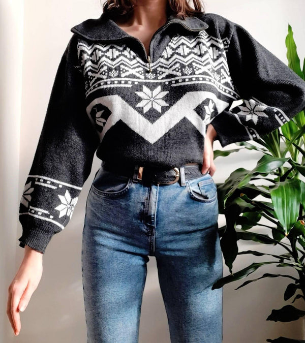 Nordic patterned vintage jumper - S/M - Sellers With A Story
