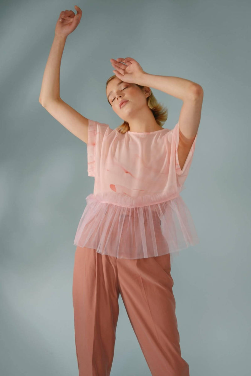 Hand Marbled Silk Ruffle Top - Pink