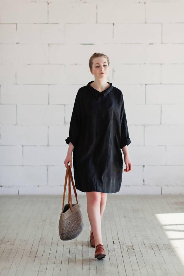 100% Linen Dress Black - Sellers With A Story