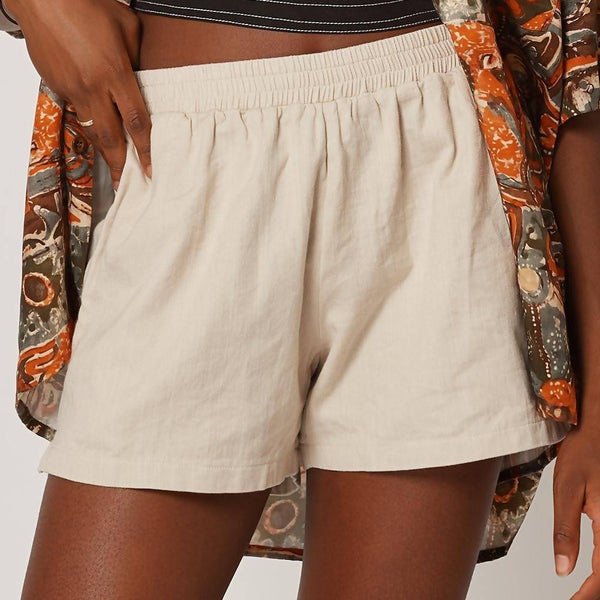 Womens Casual Cream Organic Cotton Shorts