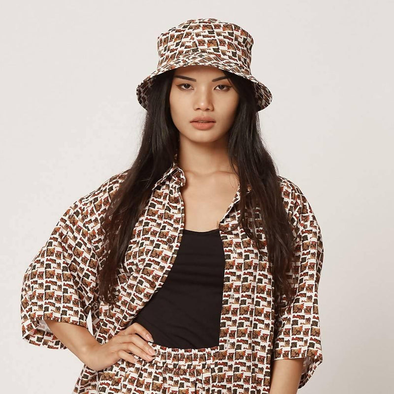 Womens Tencel Bucket Hat Red and White - Sellers With A Story