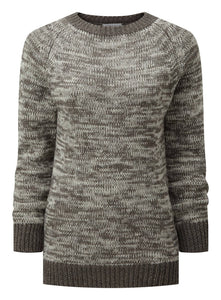 Women's Crew Neck Sweater - Grey / White Marl