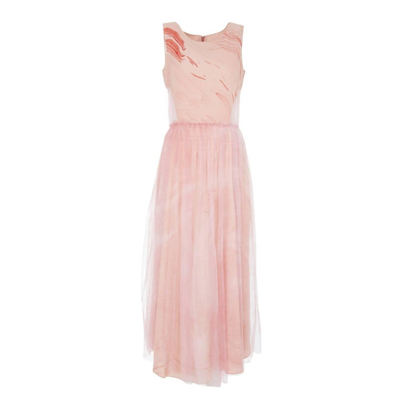 Silk Hand Marbled Cut Out Dress - Pink
