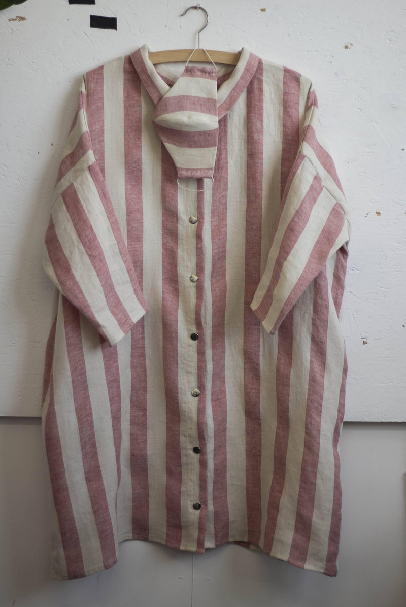 100% Linen 3/4 Sleeve Classic Dress Candy Stripe