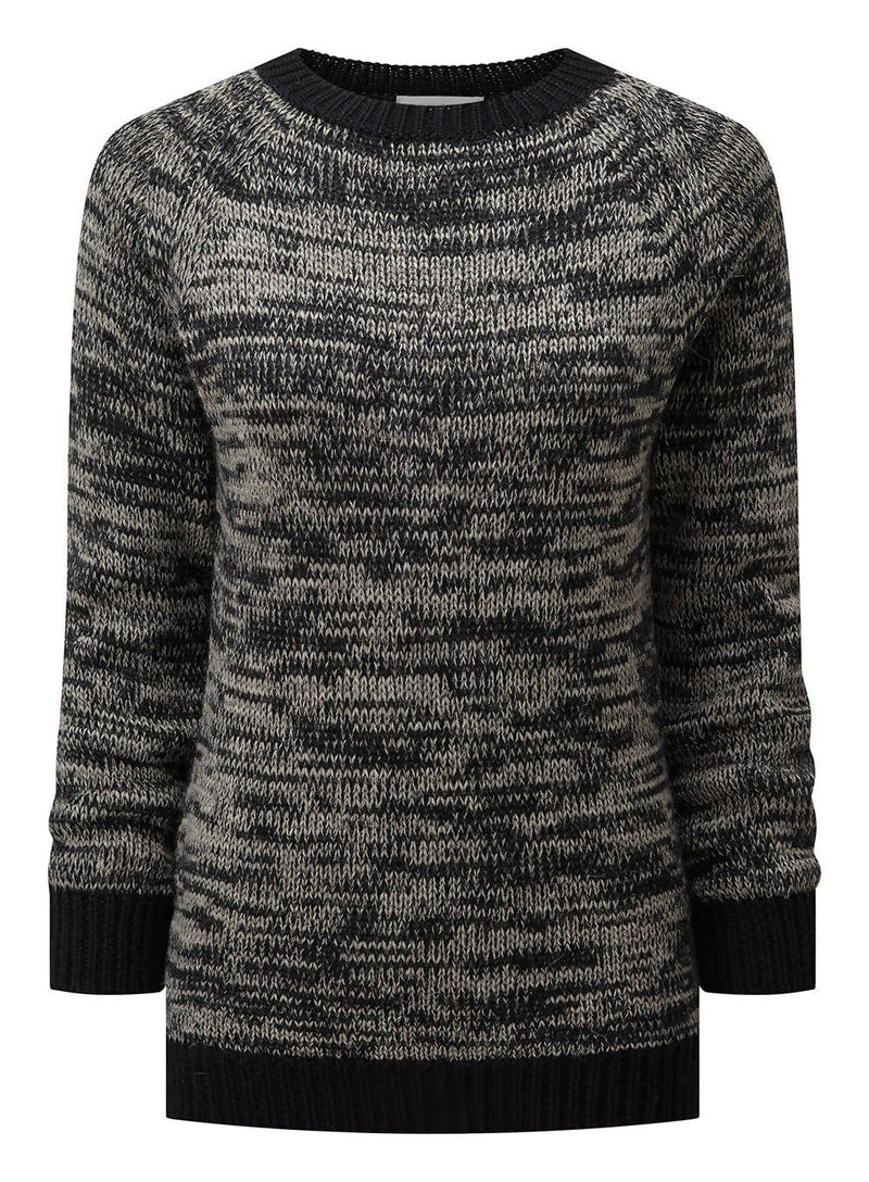 Women's Crew Neck Sweater - Black / Grey Marl