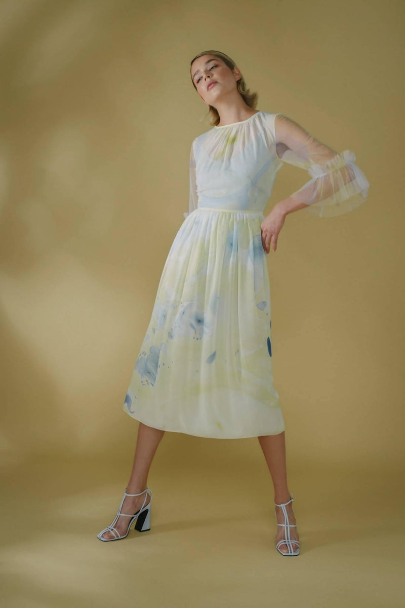 Silk Hand Marbled Gather Dress - Yellow & Blue