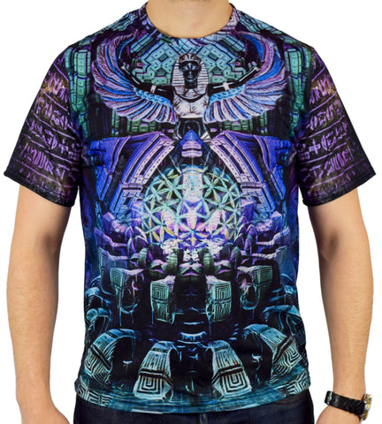 Blue Lotus Short Sleeve Tee Shirt by Dima Yastronaut