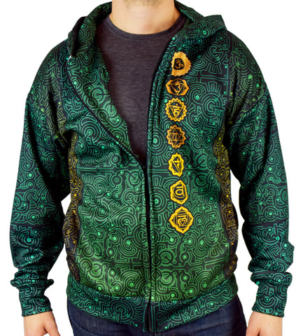 Aligned Green Zip Hoodie by Cameron Gray