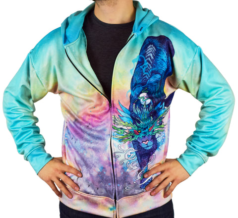Spectral Cat Zip Hoodie by Cameron Gray