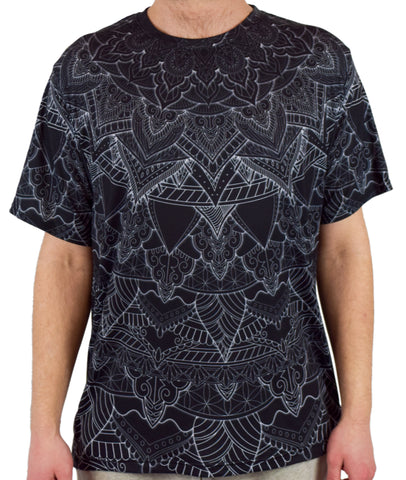Black Mandala Short Sleeve Tee Shirt by Cameron Gray